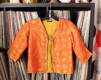 vintage kids Chinese jacket . quilted silk brocade jacket from Old Shanghai SF . golden yellow & tangerine orange