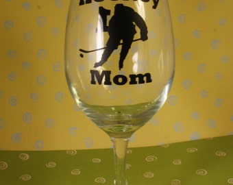 Hockey Mom / Softball Mom Wine Glass with player number on back