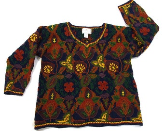 90s Chunky Grunge Sweater / Vintage 1990s Express Hand Knit Floral Novelty Sweater / Oversized Boxy Boho Hipster Embroidered Knit / S M L