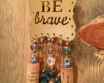 Be Brave Gold and Iridescent Deep Blue Wine Cork Wind Chime