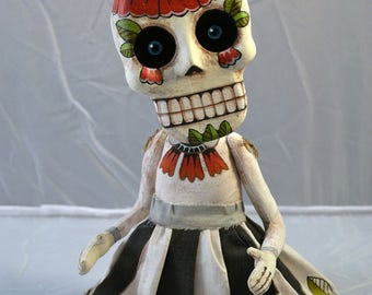 Skeleton Doll Sugar Skull Day of the Dead Original Hand Painted Folk Art Sculpture OOAK