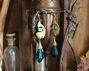 Egyptian Pharoah Aqua Glass Crystal and Brass Flapper Earrings