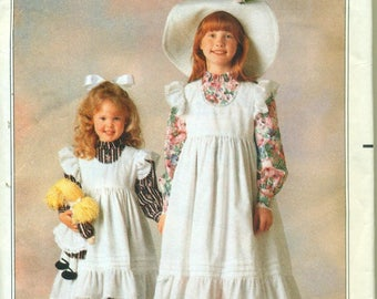 Butterick 5077 HOLLY HOBBIE Dress and Pinafore Child & Doll Sizes 2 - 3 - 4 - 5 - 6 ©1990