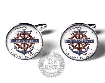 Nautical Wedding Cufflinks, Fiance Gift, Anniversary, Anchor Cufflink, Military Wedding, Personalized, Custom, Grooms Gift, Mens Accessories