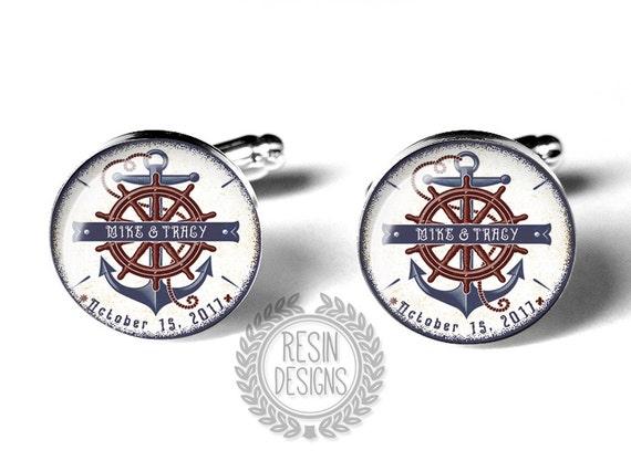 Nautical Wedding Cufflinks, Fiance Gift, Anniversary Gift, Anchor, Custom Cufflinks, Personalized Cufflinks, Grooms Gift, Mens Accessories