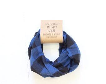 Infinity Scarf - Plaid - Flannel - Oversized - Blue & Black Buffalo Plaid - Warm - Winter- Cozy - Unisex