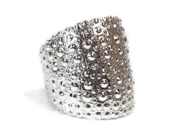 Silver Shield Ring - Sea Urchin Ring - Shell Ring - Artisan Ring - Warrior Ring - Nautical Warrior Ring - Adjustable Ring - Made In Brooklyn
