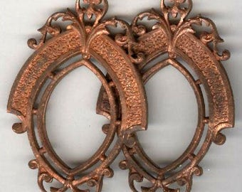 vintage BRASS PENDANTS ornate victorian style TWO large ox patina pendants antique finding solid brass not a stamping