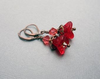 Red Flower Bead Earrings, Czech Glass Flower Earrings, Small Rustic Earrings, Antique Copper, Bohemian Jewelry, Gift Under 20