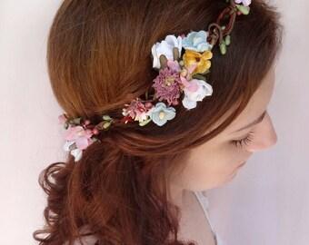 boho flower crown, dusty purple flower crown, mauve wedding headpiece, vintage style wedding, mustard yellow, vintage flower headpiece
