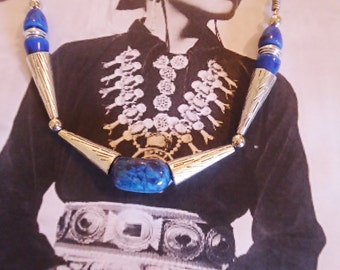 LAPIS and Silver Plate 24 inch necklace