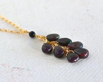 Ember Necklace - black opal necklace, black opal tassel necklace, fire opal necklace, october birthstone, handmade opal