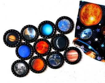 Planet Bottlecap Magnets- Solar System, Astronomy, Cosmic, Science Fridge Magnets. Kid Gift, Teacher Gift, Homeschool Classroom Magnets