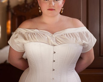 Custom Fit 1880's Victorian Corset in Plus Size Range for Living History, Bustle Era Costuming, Cosplay, Steel Boned Historical Corset