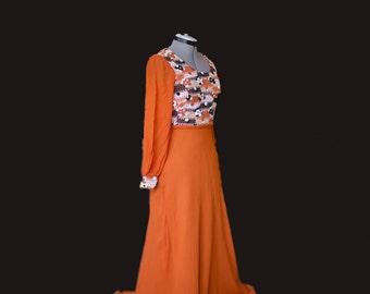 Original Rare Vintage Seventies Long Dress, Orange Black White, Flower Power, Psychedelic, Festival Outfit, Bohemian, Boho, Hippy 70's Retro