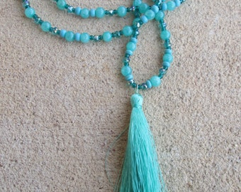 Long Aquamarine Teal Seafoam Beaded Necklace Tassel Pendant