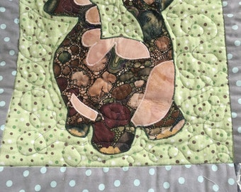 Super Cute * Dinosaurs * Baby Quilt! Polka dots, Soft Flannel Backing in pastel green, Boys Blankie