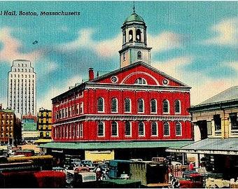 Vintage Boston Postcard - Faneuil Hall (Unused)