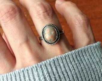 Ocean Jasper Sterling Silver Ring - size 5.25-5.5 - boho hippie dainty ponderbird