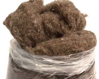 Carded & Scoured Natural Gray Virgin Wool - Dye-Free, Fine Texture, Multiple Bag Sizes Starting At 0.10LB, For Needle Felting, Stuffing