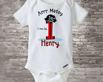One Year Old's Pirate Birthday Onesie Personalized Pirate Birthday Shirt or Onesie Bodysuit with Your Child's Name and Age (12222014a)