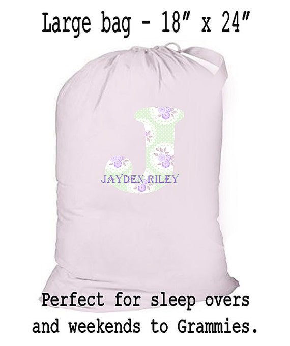 Children's Overnight Bag, Laundry Bag, Canvas Tote, Carry All, 18 x 24 Canvas Laundry Bag, Personalized Drawstring Bag, Baby Shower Gift