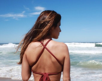 Criss cross halter swimsuit