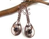 Garnet Boho Earrings, bohemian earrings, boho jewelry, wire wrapped earrings, wire wrapped jewelry, mystical earrings, tribal earrings