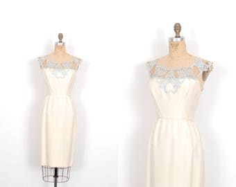 Vintage 1950s Dress / 50s Silk and Lace Cocktail Dress / Cream and Blue ( small S )