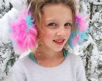 Rainbow earmuffs, Christmas gift for girl, ear muffs, winter hat, ear warmer, neon pink, ear covers, headband.
