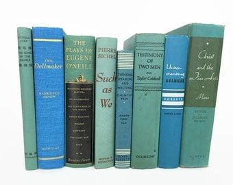 Vintage Set of 8 Books // Aqua Blue Books // Shelf Styling // Shelf Decor