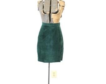 90s Mini Skirt / 1990s Green Suede Mini Skirt