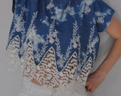 Blue/White Denim Embroidered Scalloped Eyelet Lace Cotton Tunic, Blouse, Top, Summer Blouse, Summer Vacation Wear