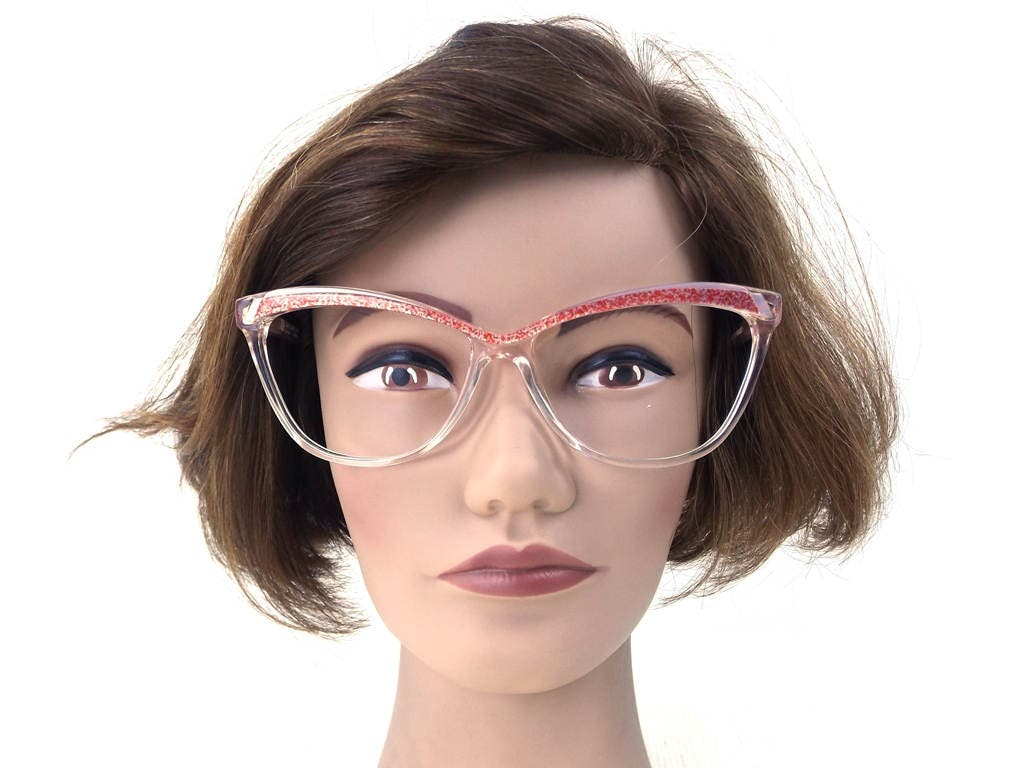 0f840effe30 vintage 70s cat eye eyeglasses guy laroche acetate oversize browline frames  glasses eyewear crystal clear red