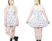 VTG 90s Pastel Floral Ribbed Circle Skirt Mini Dress w Tie Up Back