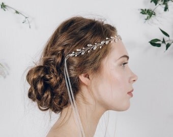 Simple headband, wedding headband, crystal headband, tiara headband, crystal hairvine, browband, silver, gold or rose gold hair vine - India