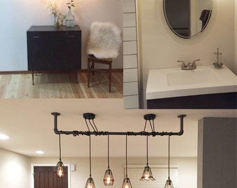 3 Pendant Custom Light Wrap Any Pipe or Stick Any Colors Industrial Hanging Rustic Vintage Ceiling Fixture or bathroom vanity lighting