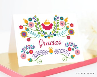 Fiesta Thank You Card, Gracias Card, Printable, Instant Download | Julieta
