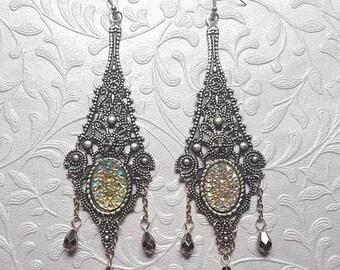 Victorian Chandelier Earrings - Victorian Earrings - Victorian Jewelry - Silver Plated Jewelry - Filigree Earrings - Gift for Her - Gift box
