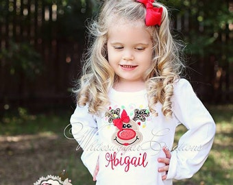 Girl Reindeer with Lights and pearls Shirt - Custom Christmas Girl Shirt - Rudolf Reindeer Outfit - Baby Girls First Christmas Outfit