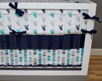 Woodland Crib Bedding, Baby Boy Nursery Bedding, Turquoise, Teal Navy Gray Tribal Feather Aztec Arrow Deer Buck Woog Grain Boy Nursery