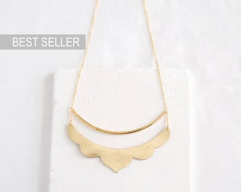 Gold Scalloped Leather Bib Necklace   metallic gold leather, curved bar   Ready to Ship