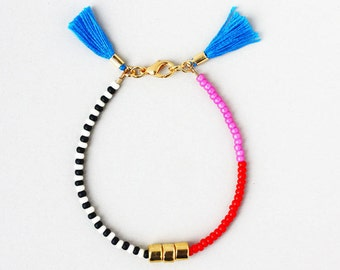 Friendship Bracelet, Bracelet with Tassel, Color block Bracelet, Layering Bracelet, Gold Gem Bracelet