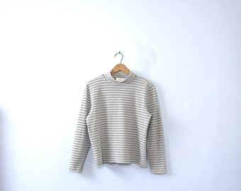 Vintage 90's striped turtleneck, mock turtleneck, light grey, size large