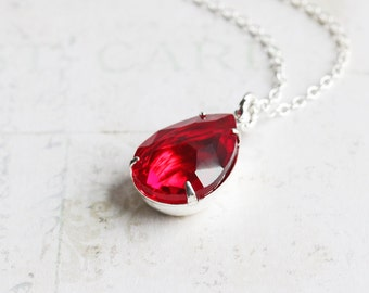 Ruby Red Rhinestone Teardrop Pendant Necklace on Silver Plated Chain