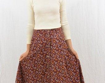 Vintage Floral Corduroy Midi Skirt, Size XS, Mori Girl, Natural Kei, Forest Girl, 80's-90's Clothing, Hippie, Boho