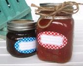 Classic Gingham oval canning jar labels, quilted jam jar labels, red blue orange checkered oval mason jar labels, jam jelly jar labels