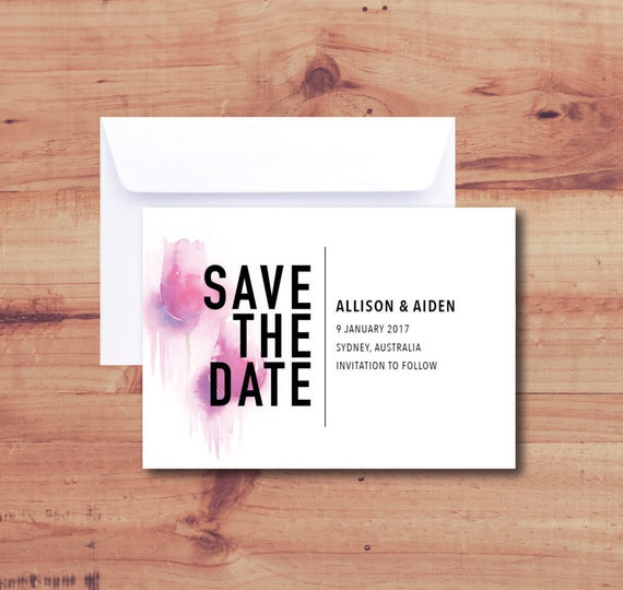 SAVE THE DATE Invitations with Envelopes | Wedding, Engagement, Cards, Tulip, Purple, Watercolour | Minimalist, Modern