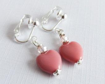 Peach heart earrings, childrens clip on earrings, flower girl gift, little girl jewelry, child birthday jewelry, granddaughter gift