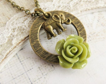 Elephant necklace, charm necklaces, wild life jewelry, olive green flower necklace, gift for her, elephant jewelry